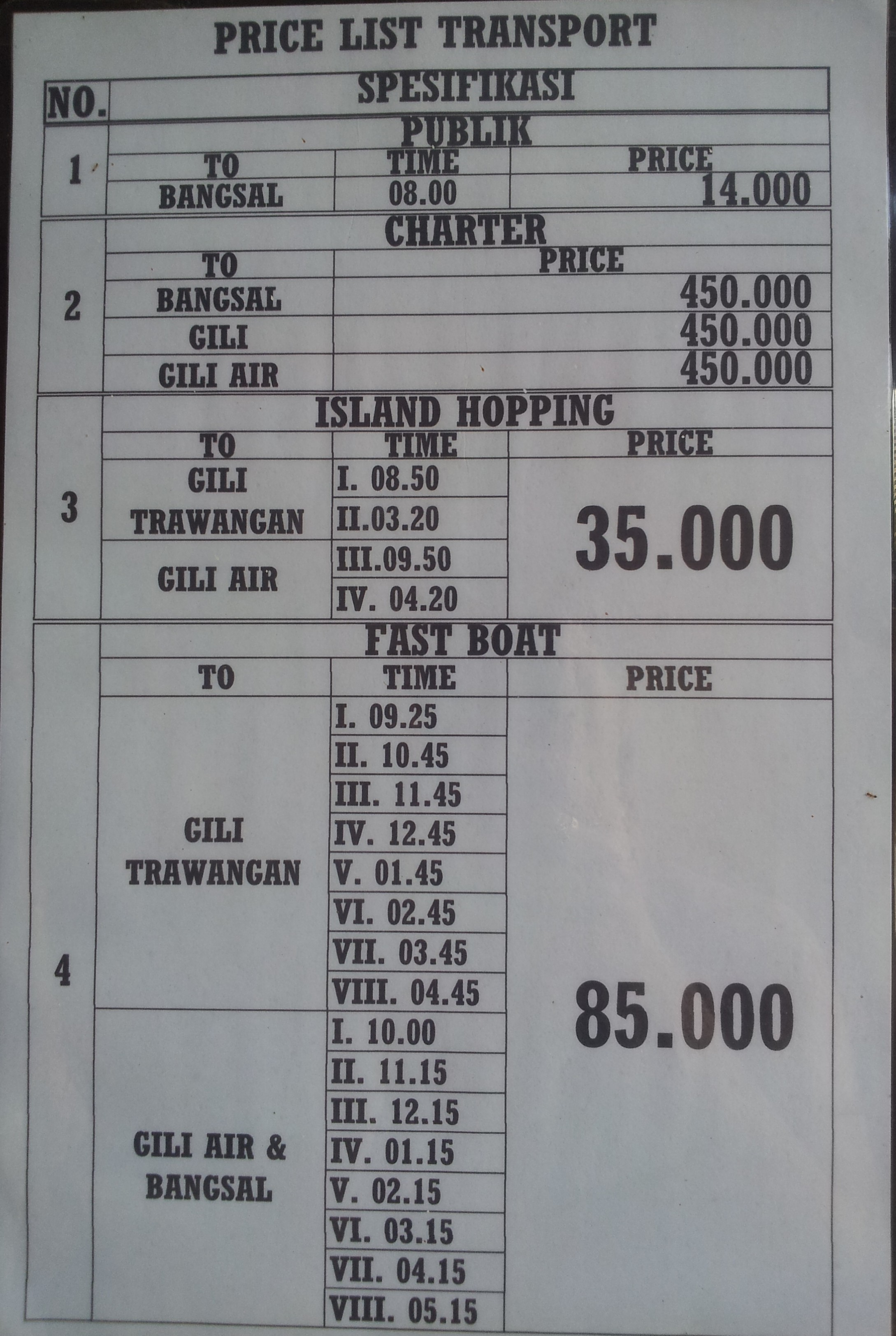 Gili Meno boat schedule at the harbour office